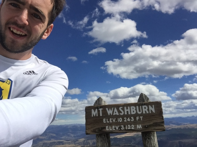 Trying not to get blown away on top of Mt. Washburn