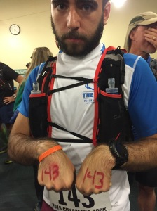 A shortage of safety pins meant writing bib numbers on hands.